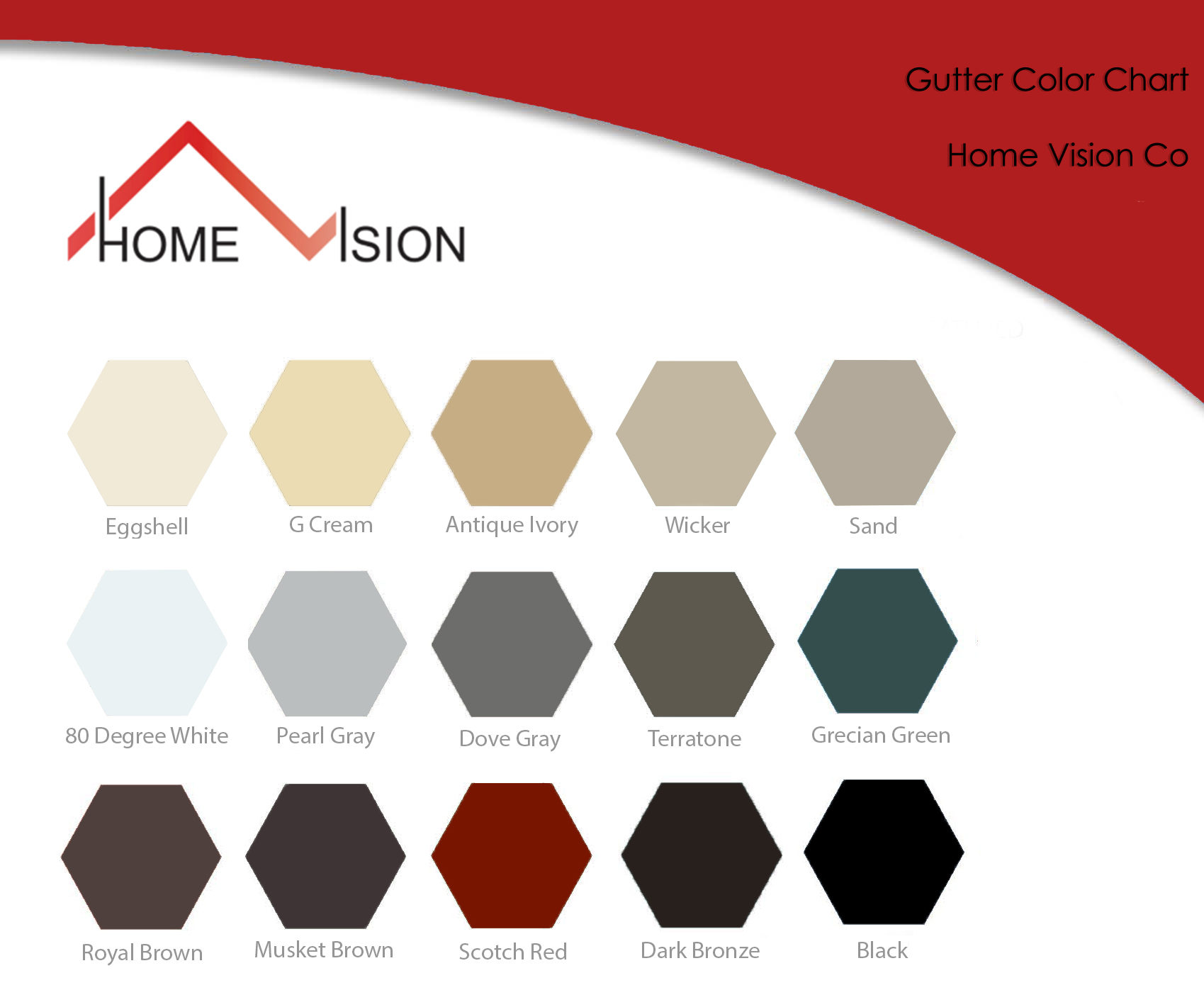Color Chart gutters Home vision
